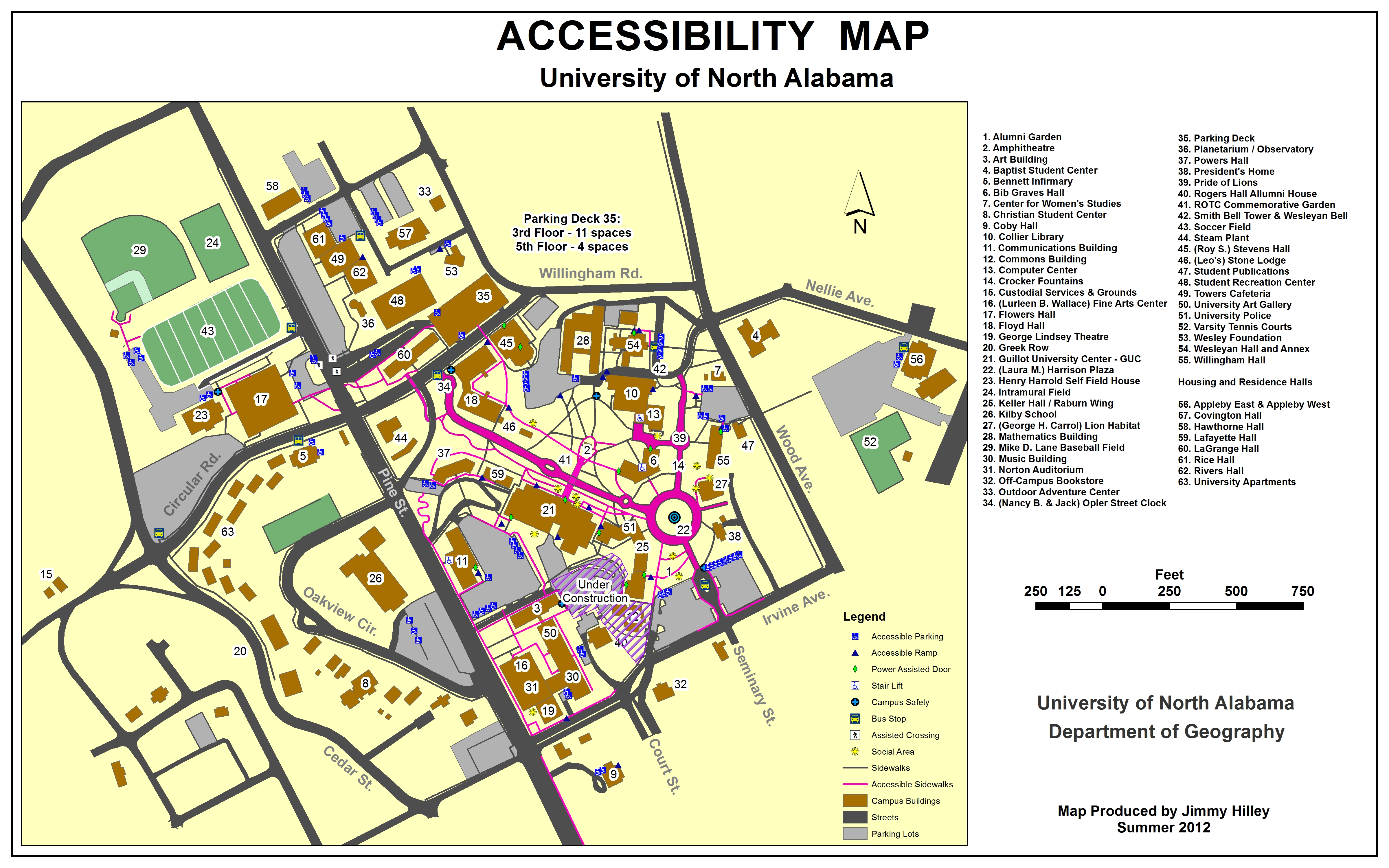 UNA ADA Campus Map