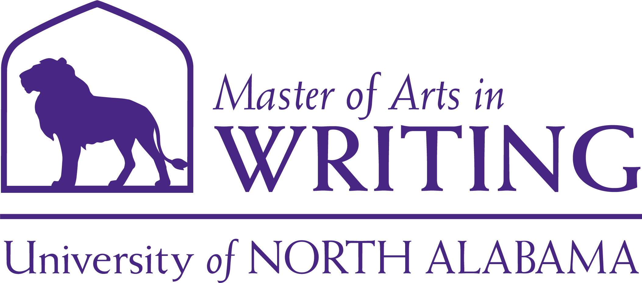 Writing Masters Dept logo in Purple