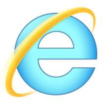 IE Logo - blue e with tilted gold halo around it