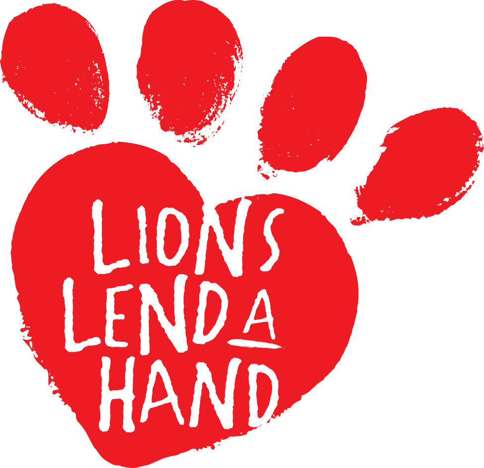 Red lion paw that says Lions Lend a Hand